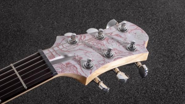 レリッシュ・ギター ヘッド white red pore fillers burl ash snow mary one head #006